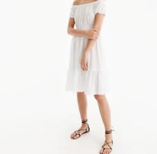 J CREW TEXTURED OFF-THE-SHOULDER BEACH DRESS SIZE MEDIUM WHITE NWT $75