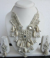 Necklace Sea Shell Mirror Earring set Choker Gypsy Boho Festival Fashion Jewelry