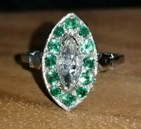Platinum Vintage 0.95ct natural marquise Diamond emerald ring SI1-J