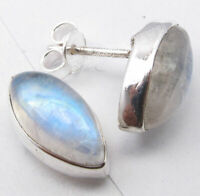 Natural Marquise Shape Rainbow Moonstone Ear Stud Earrings 925 Solid Silver