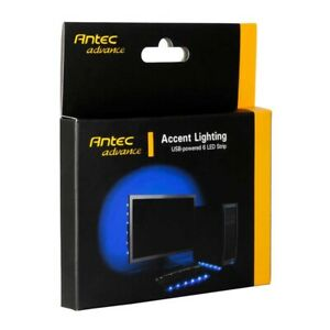 NEW Antec Accent Lighting Blue USB Powered 6 LED Light Strip 37cm Self Adhesive