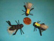 FLY FISHING FLIES - Black FOAM KICKER CRICKET / HOPPER size #8 (6 pcs.)