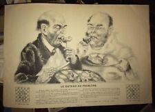 ÉCHECS et GASTRONOMIE. LE GATEAU AU PROBLÈME.LITHOGRAPHIE 1935