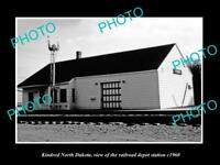OLD LARGE HISTORIC PHOTO OF KINDRED NORTH DAKOTA RAILROAD DEPOT STATION c1960