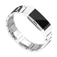Luxus Silber Ersatz Edelstahl Metall Uhrenarmband Gurt Für Fitbit Charge 2 Neu
