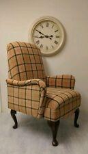 Beige Lana Country Cottage Tartan Small Bedroom Armchair Custom Made