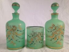 Antique Pair French Green Opaline Hand Painted Perfume Bottles 2 Glass + Tumbler