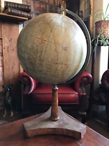 """Antique 1930s Philips 12"""" Terrestrial Library Globe London On Mahogany Stand"""