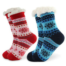Womens Thicken Knit Sherpa Lined Cozy Thermal Fuzzy Slipper Socks With Grippers