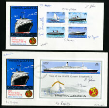 Tristan da Cunha Lot of 2 Stamped First Day Covers Each Hand Signed by Officials