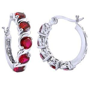 Ruby Hoop Earrings 14k White Gold Over Sterling Silver