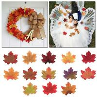 50Pcs Autumn Maple Leaf Fall Fake Silk Leaves Crafts Weddings Party XMAS Decor
