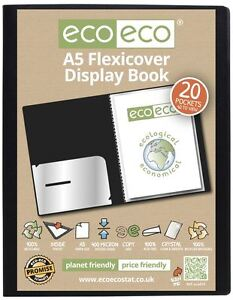 eco-eco A5 100% Recycled 20 Pocket / 40 View Black Flexicover Display Book