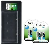 UNiROSS UNIVERSAL AA/AAA/C/D/PP3 BATTERY CHARGER+ 8 x AAA  700 mAh BATTERIES