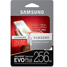 Samsung 256GB micro SD XC U3 USH-I EVO + Plus High Speed Class 10 Memory Card