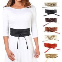 Multi-Couleur Ceinture Bandeau Large à Nouer Femme Taille Haute en Fausse Cuir