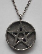 Chain Necklace #1338 Pewter PENTAGRAM MEDALLION (32mm x 26mm)