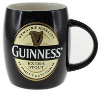 Round Mug Guinness Label Extra Stout Black Ceramic Barrel Shape Irish Gift
