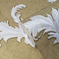 Wallpaper gold metallic white Victorian vintage damask faux sack cloth Textured