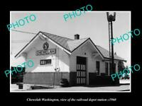 OLD POSTCARD SIZE PHOTO OF CHEWELAH WASHINGTON RAILROAD DEPOT STATION c1960