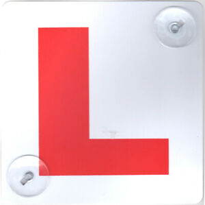2 x L Plate LEARNER DRIVER CAR SAFETY CAR SIGN WITH 2 SUCTION CUP UK