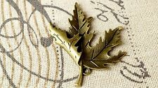 Maple leaf bronze charm vintage style jewellery supplies C91