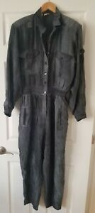 N Sandwash Silk By Bianca 100% Silk Jumper Jumpsuit Sz S Strong Shoulder Pads