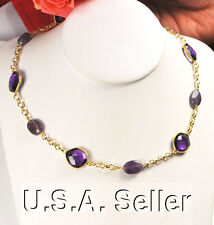 ONE OF KIND! Natural Purple Amethyst Gemstone Gold Filled Necklace 19""