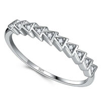Charm CZ Solid 925 Genuine Sterling Silver Triangle Round Ring Gift 6 7 8 Ladies