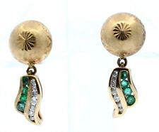 FINE ESTATE 14K YELLOW GOLD EMERALD / DIAMOND DANGLE EARRINGS