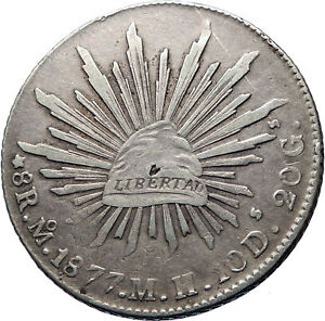 1877 Mo MH MEXICO Large Eagle Sun Antique Mexican Silver 8 Reales Coin i73854