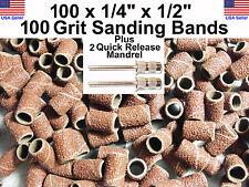 100x 100 Grit 1/4� Sanding Bands Drumsw/2 3/32� stem bit Dremel's or Rotary Tool