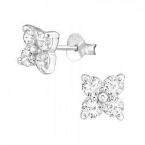 NEW! Sterling Silver Cubic Zirconia Flower Stud Earrings, Ideal Gift