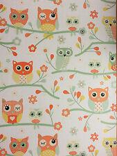 Shabby Chic Owls orang yellow green  kids children girls Wallpaper:)