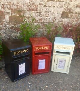 Cast Iron with Steel Back Post Letter Box - Red, Black & White