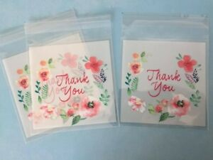 25/50/100X Self Seal Cellophane Sweet Cookies Party Gift Bags - thank you 10cm