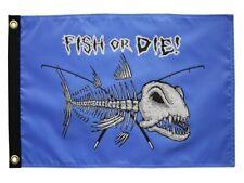 "Nautical Skeleton FISH OR DIE Bones 12"" x 18"" Two Sided 200Denier Flag USA"