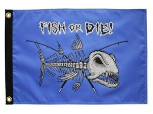 """Nautical FISH OR DIE Bones 12"""" x 18"""" Two Sided 200Denier Flag USA"""