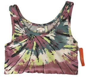 Colsie Lounge Pajama Crop Top Size XL Pink & Green Tie Dye Soft Fabric