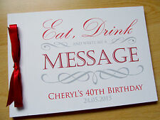 Personalised Guest Book Wedding Engagement Party Eat Drink Birthday Christening