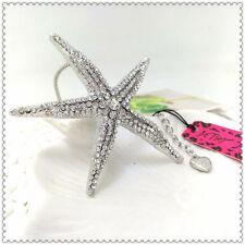 Betsey Johnson Silver Starfish Pendant Necklace, Rhinestones & Chain Star Fish