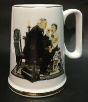 """Vintage Norman Rockwell """"The Country Doctor"""" Mug, Cup with Gold Gilding, VGC"""