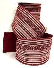 "Woven Linen Wired Ribbon~Burgundy, White, Multi Color~Felt Back~4"" W x 5 yds."