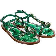 Dolce & Gabbana Flat Leather Sandals Fino Crystals Petals Green 07836