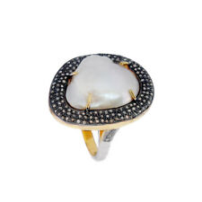 Ring Anniversary Fine Gift Ring Jewelry Pearl Diamond Pave 925 Silver Wedding
