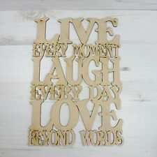 Sayings Plaque LIVE LAUGH LOVE word door sign wood wall art MDF Wooden