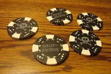 #5 Harley Davidson Poker Chip Skull & Crossbones Golf Ball Marker,Card Guard B/W