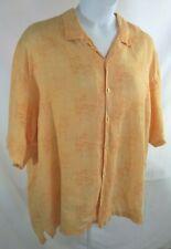 Men's Tommy Bahama Linen Hawaiian Shirt Sz XXL Peach Bamboo SS Button Fr EUC