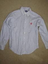Great Chaps blue + white striped long-slv button shirt - boys S (8-10)