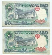 Malaysia RM50, 6th Jaffar, 7th series Ahmad Don, lot of 2 pcs (Circulated)